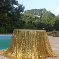 Gold Table Cloth Sparkle Glitter Sequin Tablecloth 108 inch  Round Table Cloths Wedding Table Linens Gold Cake Table Gold Sequin Tablecloth