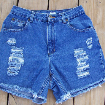 High Waisted Distressed Shorts Size 6 by DenimAndStuds on Etsy
