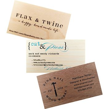 Business Cards | Calling Cards Printed on Real Wood Veneer Sets of 50