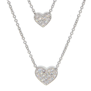 Dear Deer White Gold Plated Double Heart Pave CZ Pendant Necklace