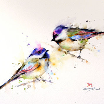 CHICKADEE Colorful Watercolor Print by Dean Crouser