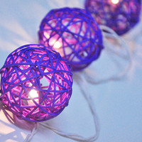 Purple Rattan ball string lights for Patio,Wedding,Party and Decoration (20 bulbs)