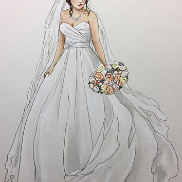 Custom Bridal Illustration. Bridal Portrait. Wedding Gift. Bridal gift. Personalized gift. Wedding Art. Bridal Shower Gift. Anniversary gift