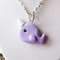 Pastel Purple Narwhal Necklace Polymer Clay Charm by MadAristocrat