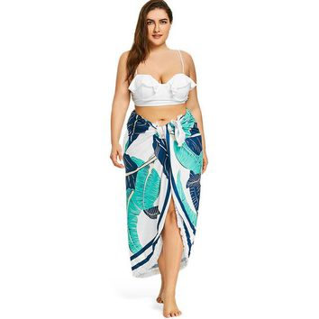 Cover ups Bikini ZAFUL  Women Fringed Palm Print Beach Throw Beach Blanket Tropical Leaf Color Block BeachTunic Summer Beach Covers KO_13_1