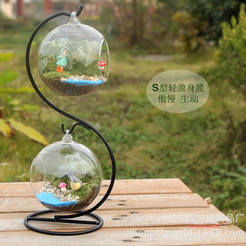 Home Creative Flower Pot Hanging Double Balls Decorative Glass Table Vase For Air Plant Terrarium Crystal Hydroponic Container