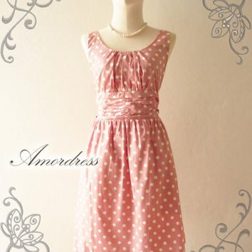 Amor Vintage Inspired Polka Dot Pale Pink Pastel Dress Party Wedding Prom Everyday Dress -Size S-M-