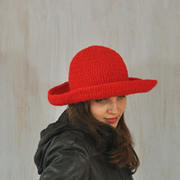 Red Hat, Women's Brimmed Hat, Handmade Hat, Yarn Crochet Hat, Floppy Hat, Flatter Hat, Winter Spring Hat, Impressive unique, Acrylic