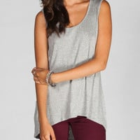 Hip Heart Cut Out Womens Muscle Tank Grey  In Sizes