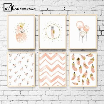 Nursery Girl Bedroom Decoration Flamingo Feather Wall Art Canvas Poster and Print Cartoon Painting Wall Pictures for Living Room