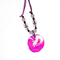 Neon Violet Flower  Necklace