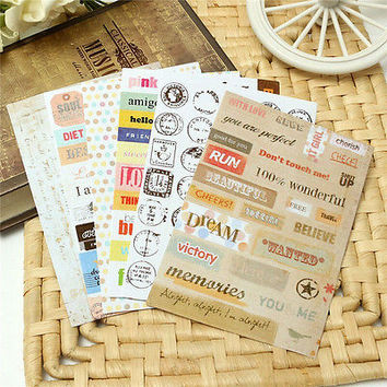6X/Lot Retro DIY Calendar Paper Sticker for Scrapbooking Diary Planner Sticky LS