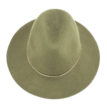 Green Metal Band Embellished Wool Blend Fedora Hat