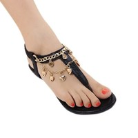 Stylish Women's Sandals With Chain and Flip-Flop Design