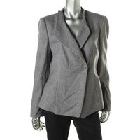 Armani Collezioni Womens Giacca Wool Houndstooth One-Button Blazer