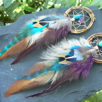 Fall grapevine earrings dreamcatcher earrings coachella earrings tribal boho and hipster style