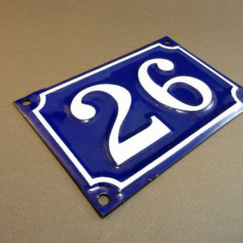 French Door Number 26 Blue enamel street sign, from 1 to 216, antique sign, parisian touch