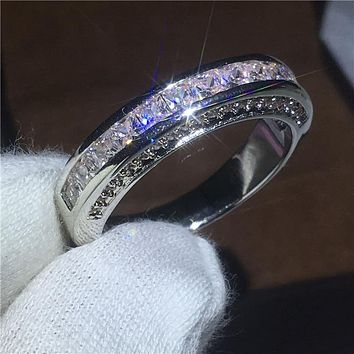 Lovers Engagement ring Princess cut AAAAA Zircon Crystal White Gold Filled Party wedding band rings for women Men Gift