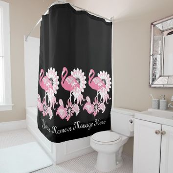 Pink Flamingo Girly Cool Black Shower Curtain