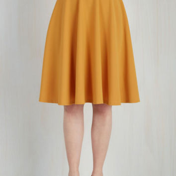 Long Full Bugle Joy Skirt in Mustard