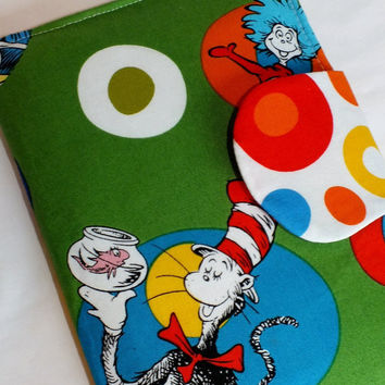 Cat in the Hat Green  E-Reader Cover Kindle , Nook Cover, Kobo Cover, Kindle Fire Cover, Kindle Touch Cover Made to Order