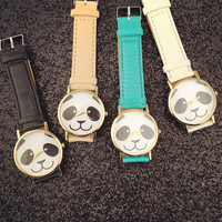 Leather Panda Watch Women Dress Quartz Watches + Gift Box