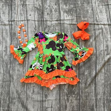Halloween pumpkin dress baby girls long sleeves mouse milk silk pumpkin print orange ruffle Halloween dress with accessories