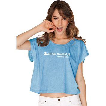 Buy Cool Shirts Autism Awareness Time to Listen Ladies Boxy Shirt