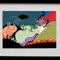 """Tuesday 14:36, 2014"""" Unique dreamy illustration print! Cartoon style art! Signed on the back by artist! Graphic wall art in high quality!"""
