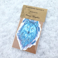 Wolf Temporary Tattoo - Wolf Tattoo - Winter Wolf - Temporary Tattoo - Nature Tattoo - Wolf Art