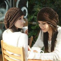 Triangular Pattern Knitted Piles Cap