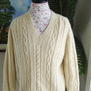 SALE/ Ready to be shipped /Gorgeous Hand Knitted-HANDMADE Cream aran fisherman sweater for women or men/unisex/SIZE M