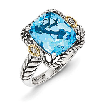 Sterling Silver w/14k Antiqued Lt Swiss Blue Topaz and Diamond Ring