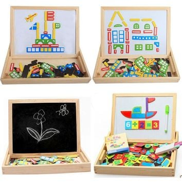 Writing Board Drawing Magnetic Puzzle Jigsaw Puzzles Kids Baby Games Toy Wood Children Puzzles Intelligence Development Toy