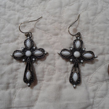 A Pair of Brass and Tibetan Silver Cross Earrings White Stones hippie boho religious goth gothic lolita OOAK EGL southwest style jewelry