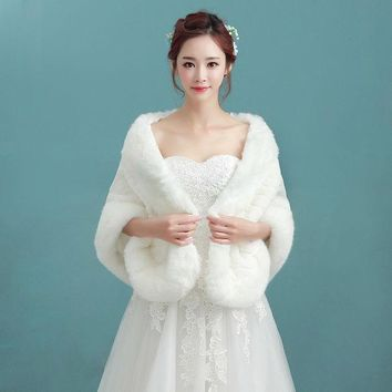 CREYHY3 2016 Bridal Shawl Fur Stole Faux Fur Wrap Wedding Winter Cape Wedding Shawl White Fur Cape  For Brides SC17