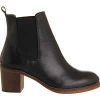 Office Clara Smart Mid Heel Chelsea Black Leather - Ankle Boots