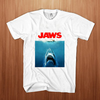Jaws Paws Parody  shirt men  Poster Movie  t-shirt shark  tee Jaws tee Stump white
