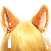 "Orange BROWN 3.5"" inner white Kitty Cat Ear FOX ear Hair Clip Bell set Cosplay Costumes Party"
