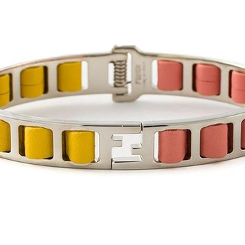 "Fendi ""The Fendista"" Bangle Pink/Yellow Bracelet K0RD2U"