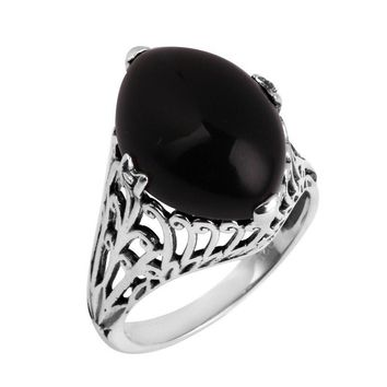 Oval Black Agate 925 sterling silver ring