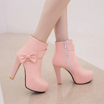 PU Platform Autumn Lady Sexy Fashion Ankle Boots Plus Size 34-43 2016 Cute Pink White Wedding Shoes Women Thin High Heel Boots