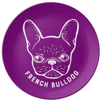 French Bulldog Line Art Dinner Plate