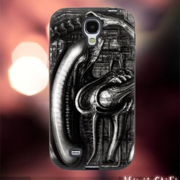 MC2801Z,4,giger,Alien,monster,space,nebula-Accessories case cellphone-Design for Samsung Galaxy S5 - Black case - Material Soft Rubber