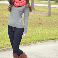 Blessed In Bows Sweater: Heather Gray
