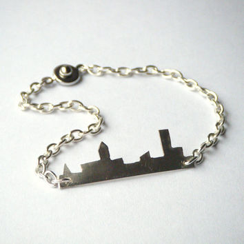 City Skyline Bracelet - Silver Chain Bracelet, Cityscape Silhouette Jewelry, OOAK - 'City Girl'