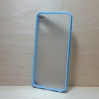 ipod touch 5 Case Silicone Bumper and Translucent Frosted Hard Plastic Back - Light Blue