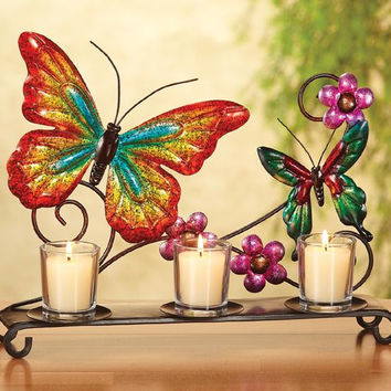 3 Candle Holders - Butterfly