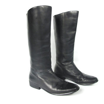 90s Black Leather Knee Boots Tall Flat Pull on Riding Boots Pirate Winter Insulated Bootss (9)