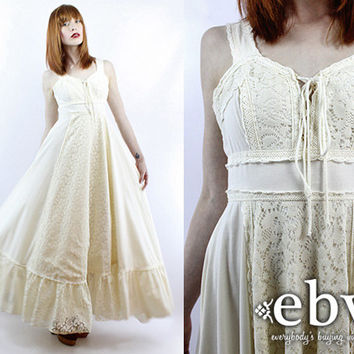 Vintage 60s 70s Gunne Sax Cream Lace Maxi Dress Hippie Dress Hippy Dress Hippie Wedding Dress Hippy Wedding Dress Boho Wedding Dress